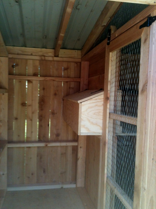 The Work Area and Egg Gathering Side of Nesting Box