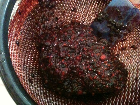 The pulp and seeds left from working the blackberry juices through the strainer.
