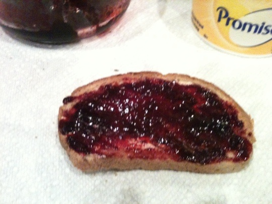 Uhhmmm...YUMMMM!!!  Blackberry jam on sourdough toast!!!