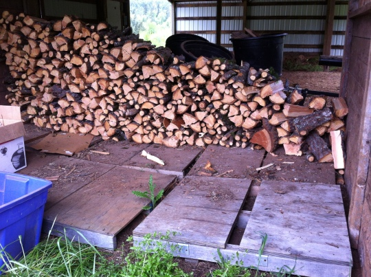 We need to build this stack as high as the highest log, and forward to the front of the pallets!