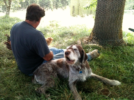 I love sitting in the shade with my daddy!